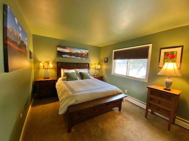 Bedroom with queen bed and closet space