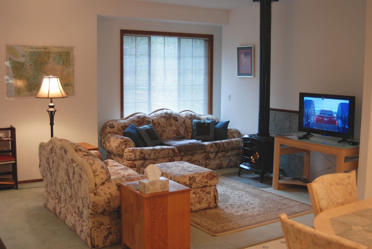 Living room with gas fireplace and TV