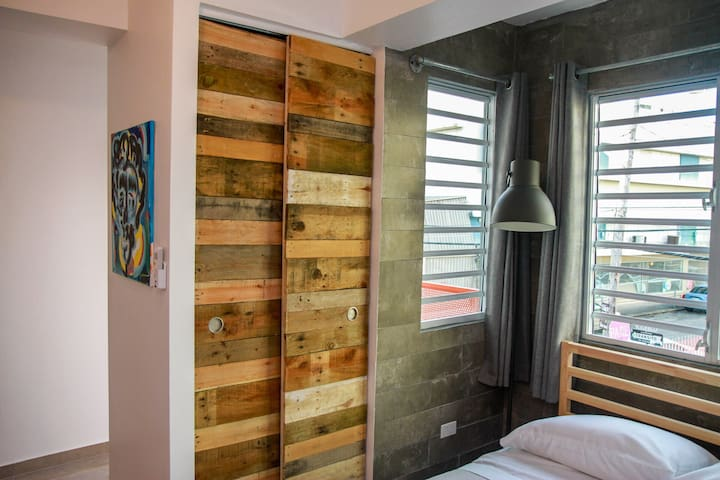 AC controller, closet, sunlight blocking curtains