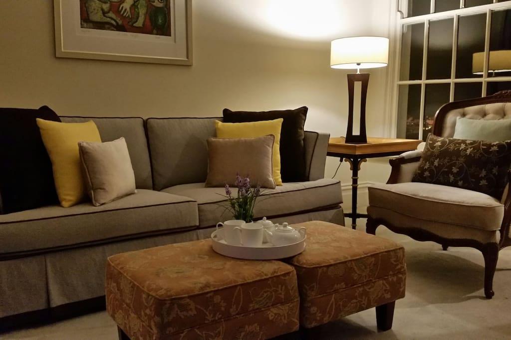 Cosy lounge setting at night