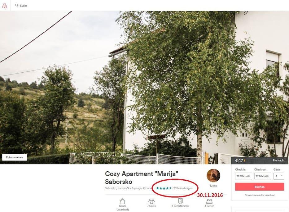Due to a Management Change you'll see here our previous airbnb Ratings  Wegen Managementwechsel sehen Sie hier unsere bisherigen Bewertungen auf airbnb