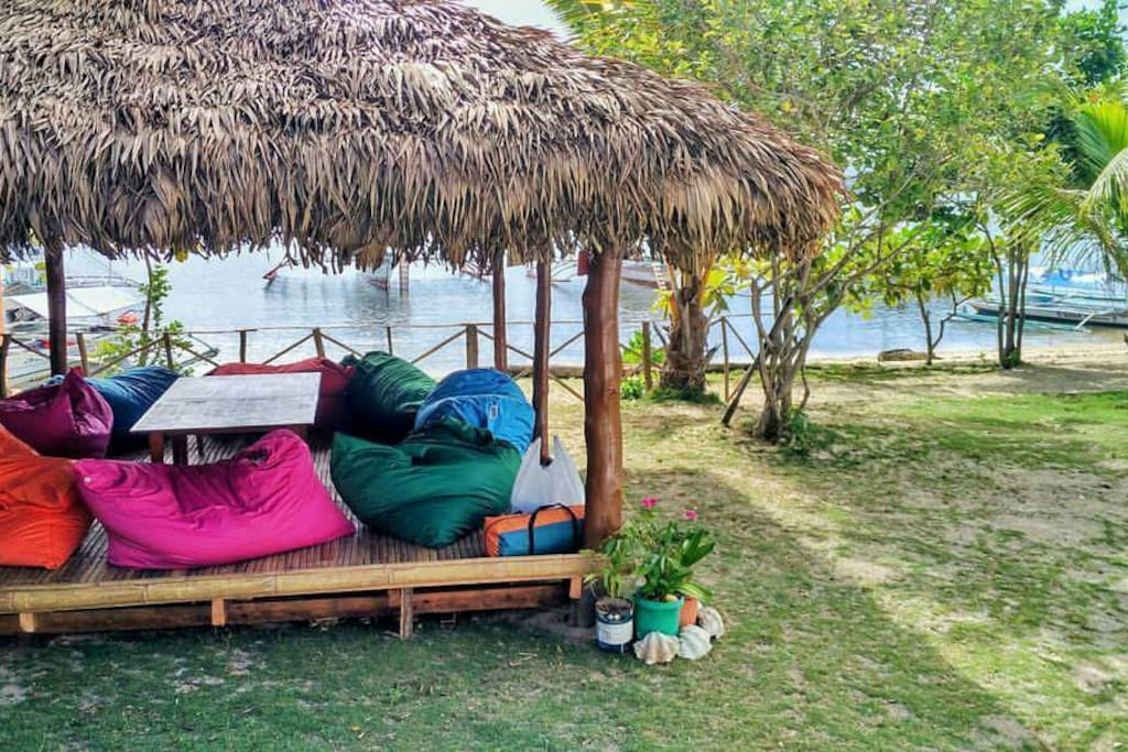 beach front chill out area with huge bean bags for relaxing
