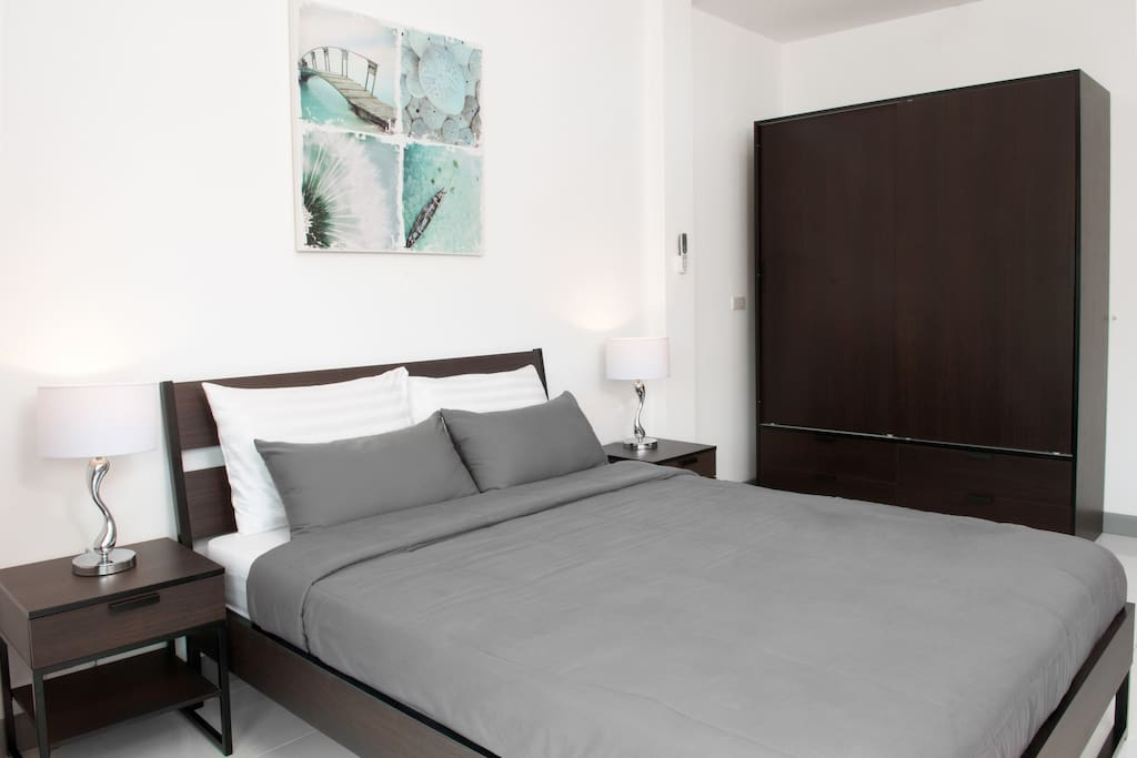 Very good quality spring mattress with soft cotton sheets. Extra large wardrobe with lockable drawer for valuables.
