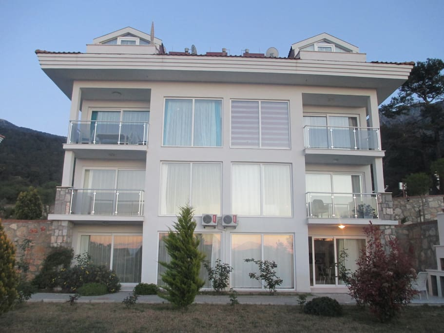 Bottom right apartment, with patio and upstairs balcony