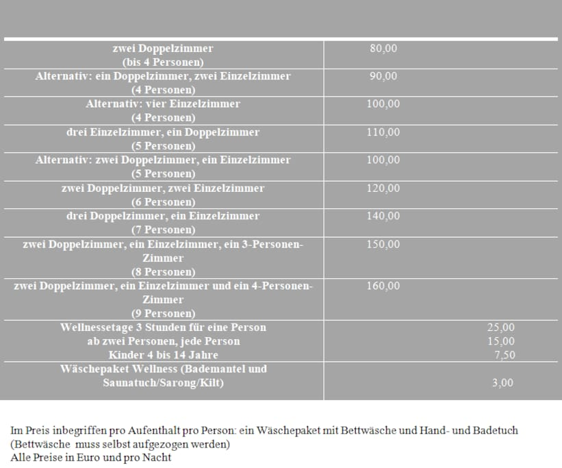 Preisliste/ price-list