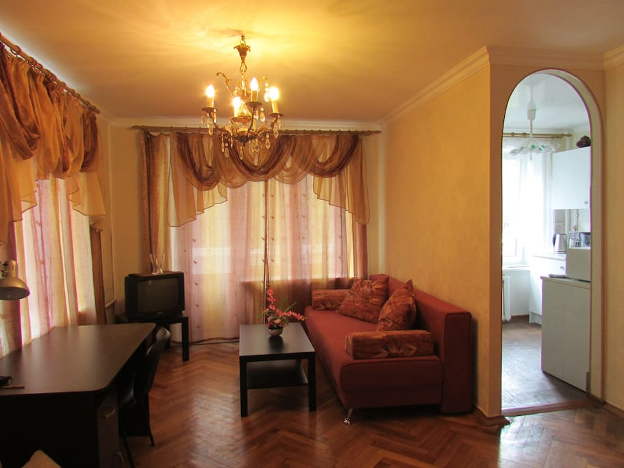 Комната, раскладной диван на 2 места(190*150 см), рабочая зона (+WiFi)
