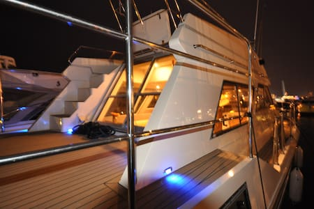 Luxury motor cruiser, Poole Quay. - Poole