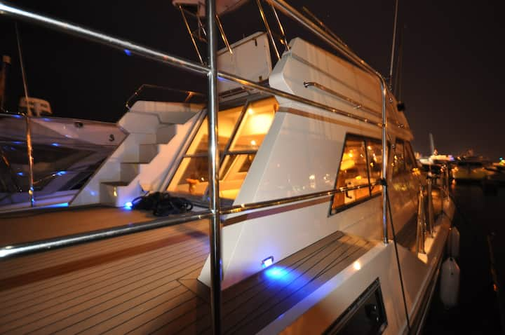 Luxury motor cruiser, Poole Quay.