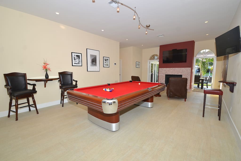 Spectacular Open Media Room Offers Vintage Custom Pool Table + Two (2) LED HD T.V.'s + Pool Lounge Access...