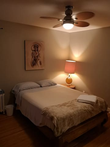 Master bedroom with lamp on at night.