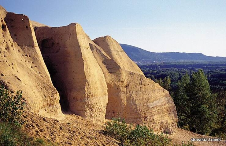 Sanberg. pretty sandy hill 16 km away. neogen sandstone with sharks teeth. walking paths. biking path from Devin.