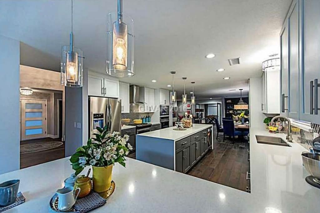 Open kitchen with all the amenities and waterfall island.