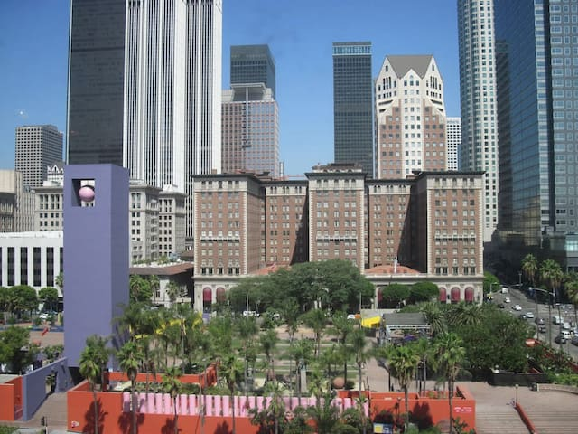 Pershing Square Park and the Biltmore Hotel are across the street