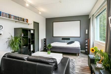 Bright and modern studio apartment.