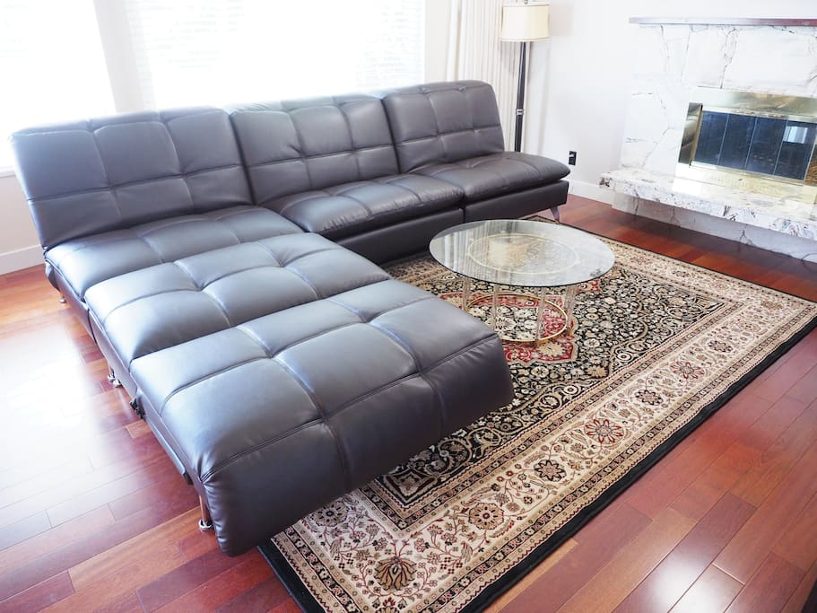 Leather sofa lounger