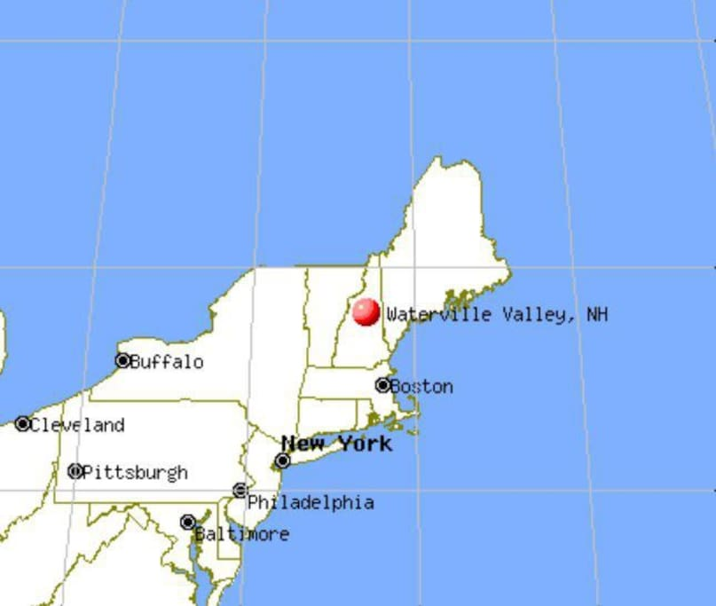 Waterville Valley is located approximately 2 1/2 hours noth of Boston in the White Mountain National Forest
