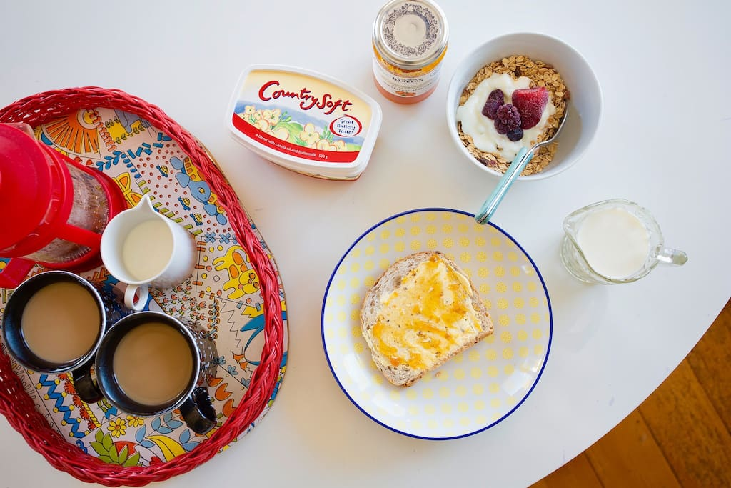 Enjoy a yummy self catered breakfast. my guests rave about the fantastic selection of cereals, muesli, breads and free range eggs. Plus don't forget great coffee!