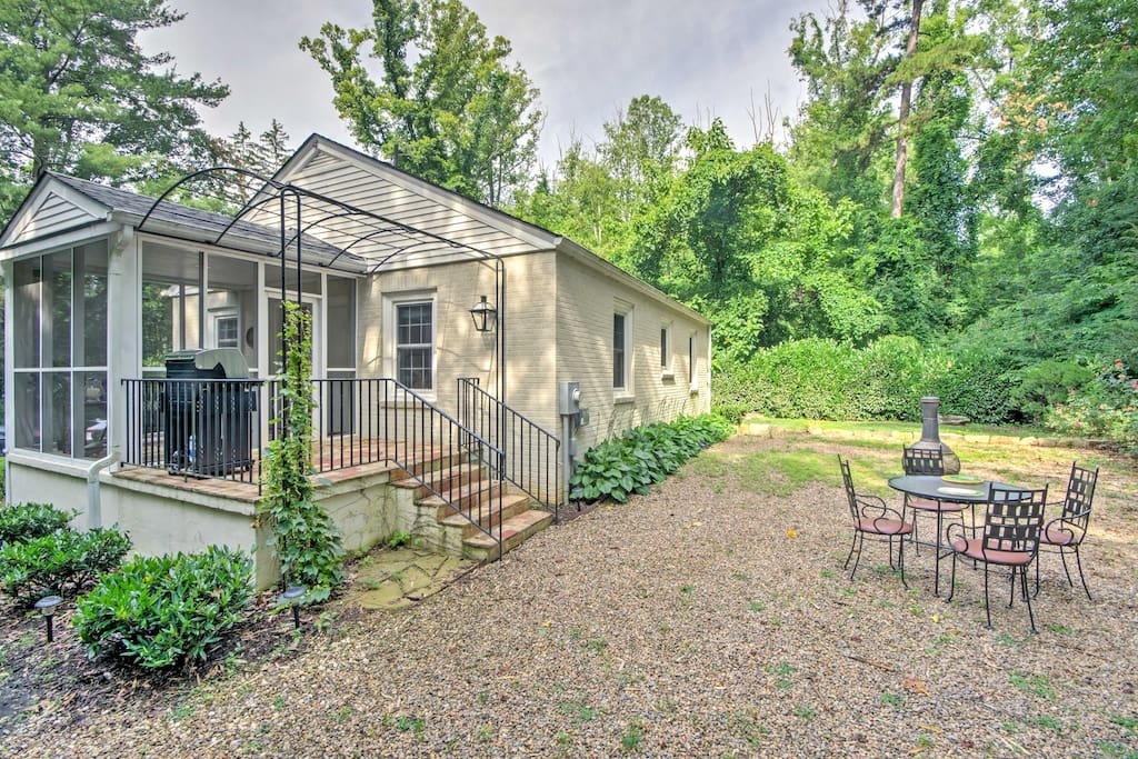 The home features a beautiful, private backyard with sitting area, gas grill and fire pit.