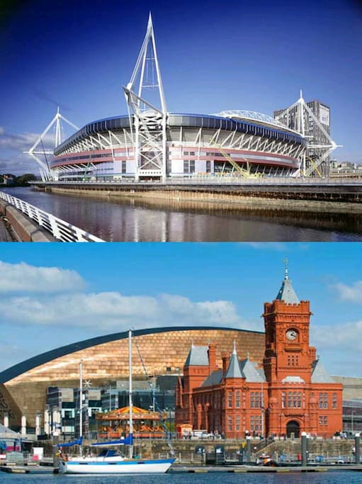 City Centre/Principality Stadium (12 min walk) and Cardiff Bay/Wales Millennium Centre (10 min walk)