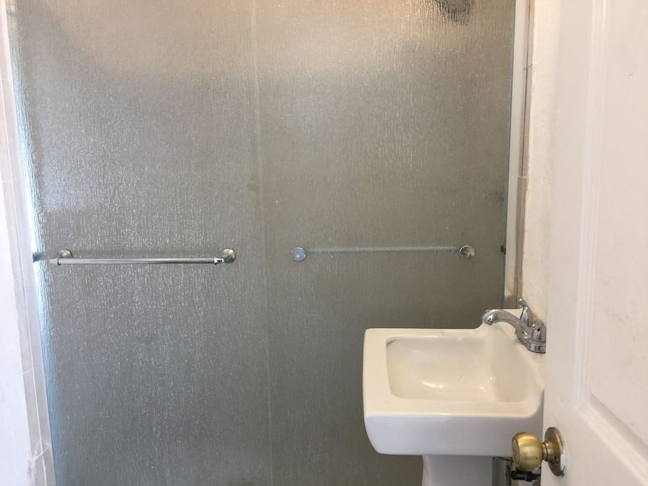 Bathroom shared with 6 other guests