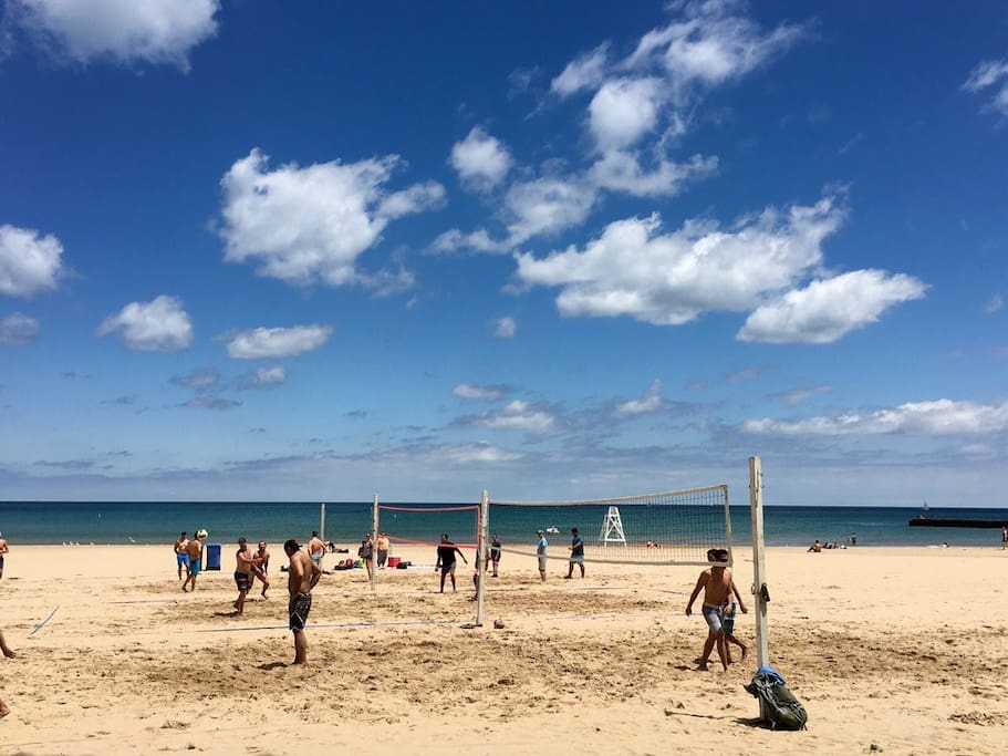 Osterman Beach  on Lake Michigan is just a 5 min walk. Relaxing, free wifi, clean bathrooms, beach bar with food/drinks!