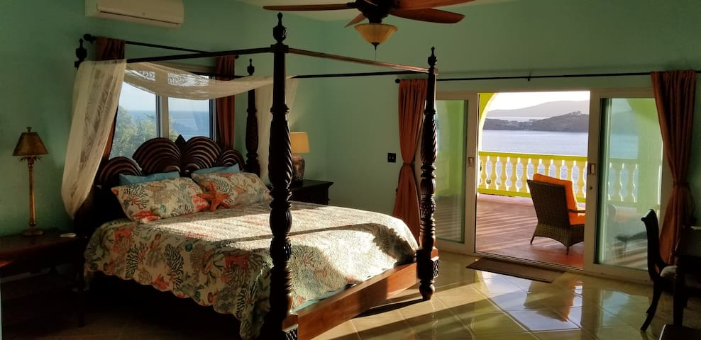 The Ocean Room has an adjoining balcony that overlooks Magens Bay