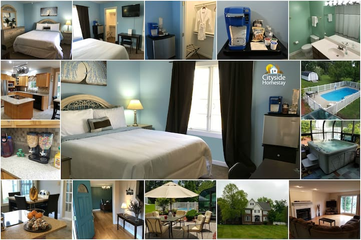 Blue Blossom Room (Queen) | Breakfast & Amenities - Elizabethtown
