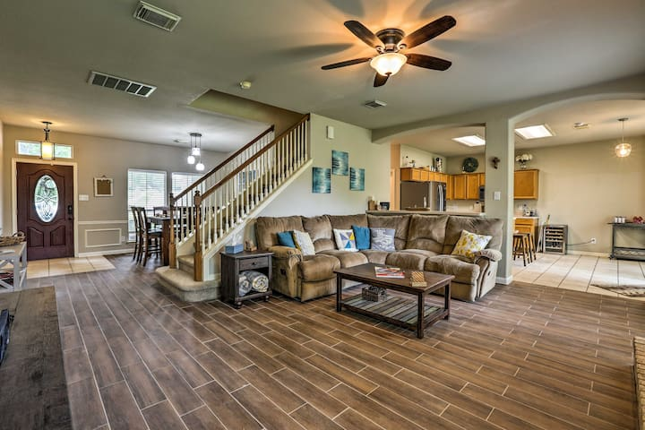 With high ceilings and an open floor plan, the house is warm and inviting.