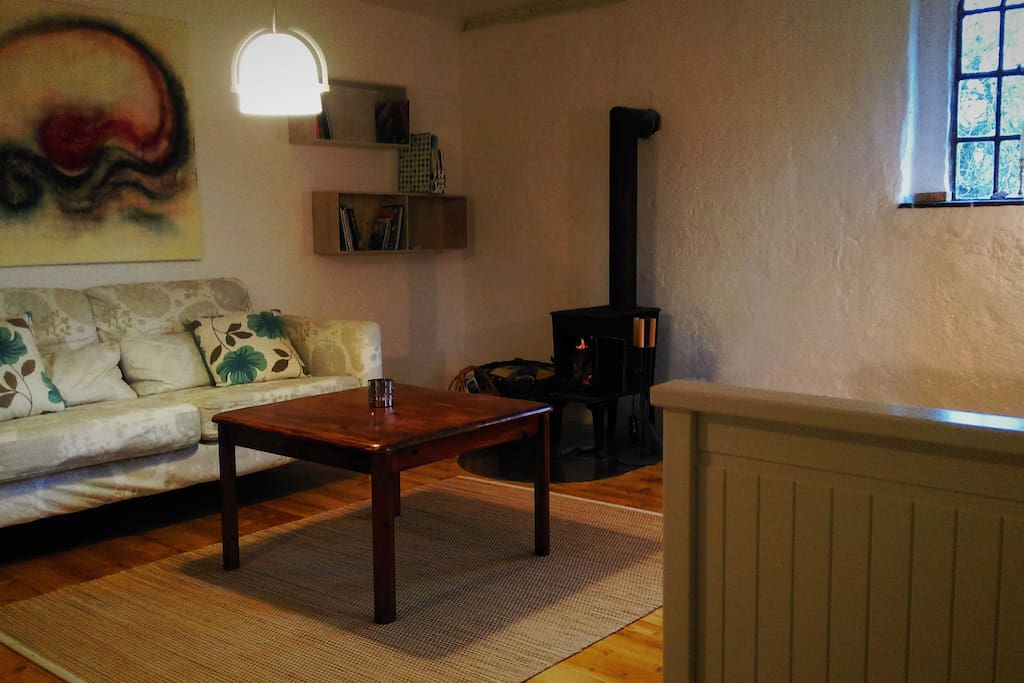 View of the living area with its cozy wood burning stove