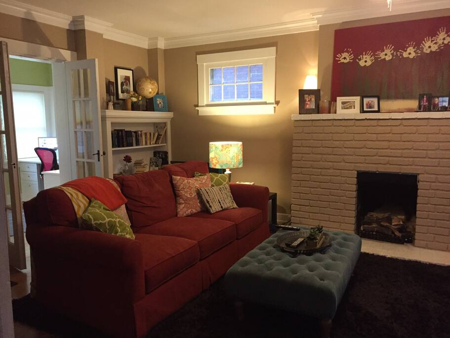 Our cozy living room which includes a large TV, Blu-ray player,  and Netflix.