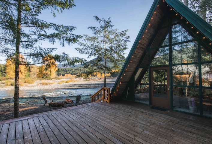 Our huge deck with amazing river and mountain views!