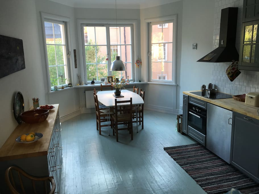 Spacious kitchen with room for 12
