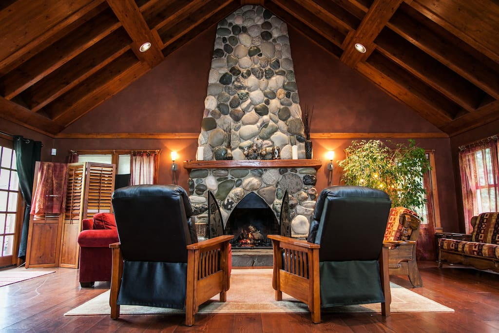 Gorgeous river rock fireplace for a real wood fire