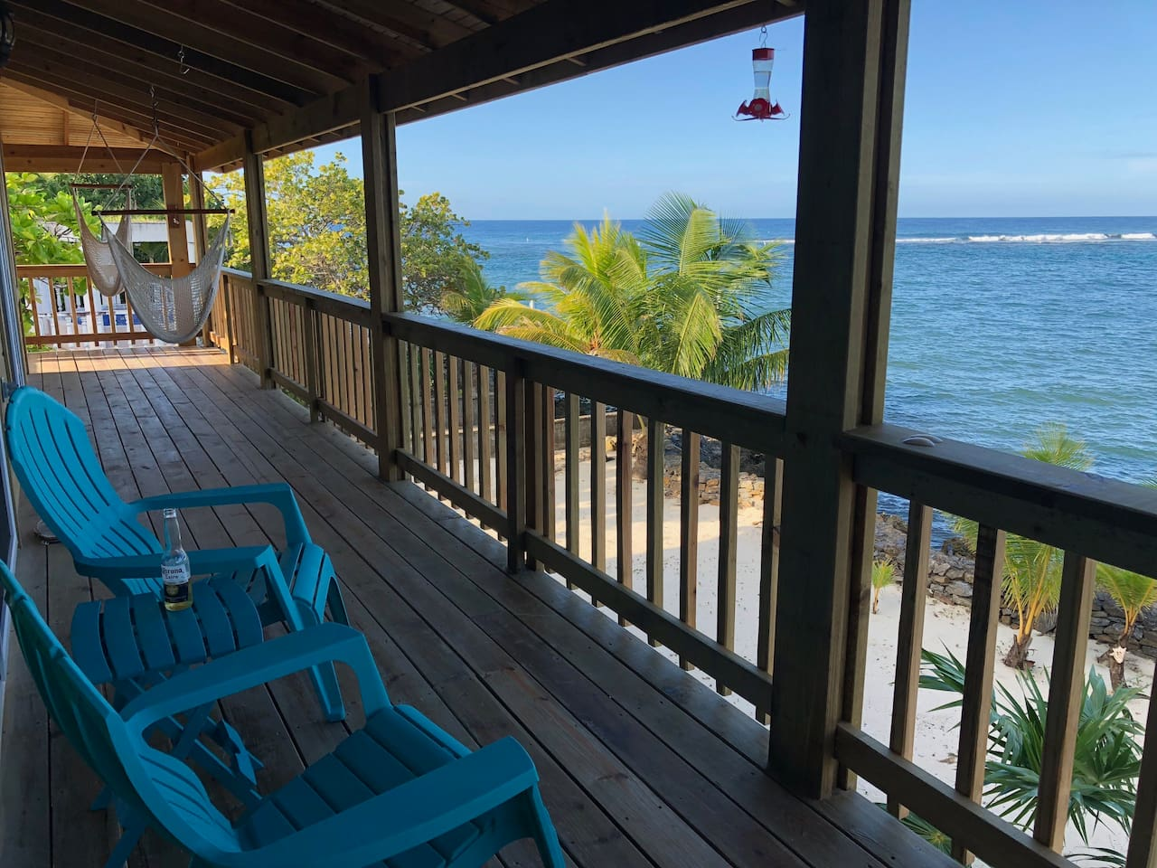 Large deck has plenty of seating to enjoy the views and breezes of the Caribbean Sea. Breathtaking views and steady  tropical breezes  make your stay simply the best in the West End area of the Island! Close to everything!