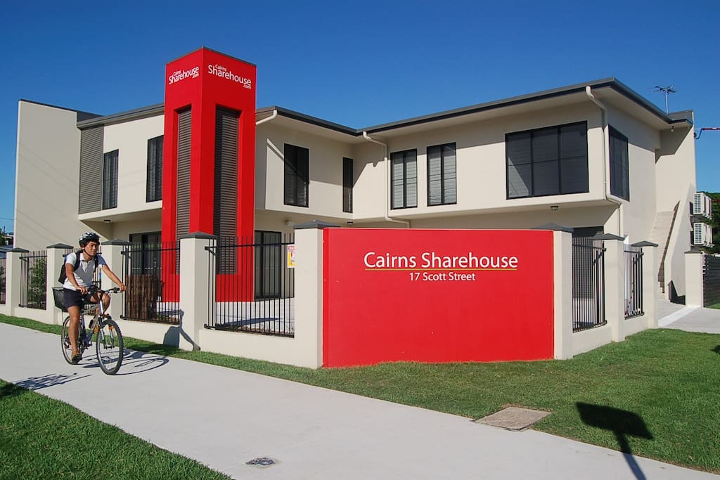 Outside the Cairns Sharehouse Office with The Penthouse apartment upstairs