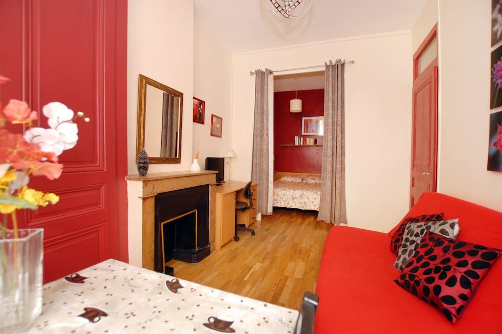 Espace salon avec canapé lit , bureau , TV