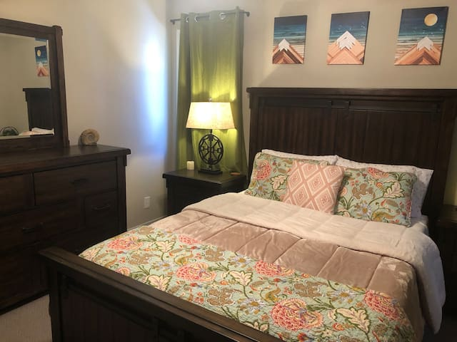 Master bedroom with super comfy bedding and new mattress!