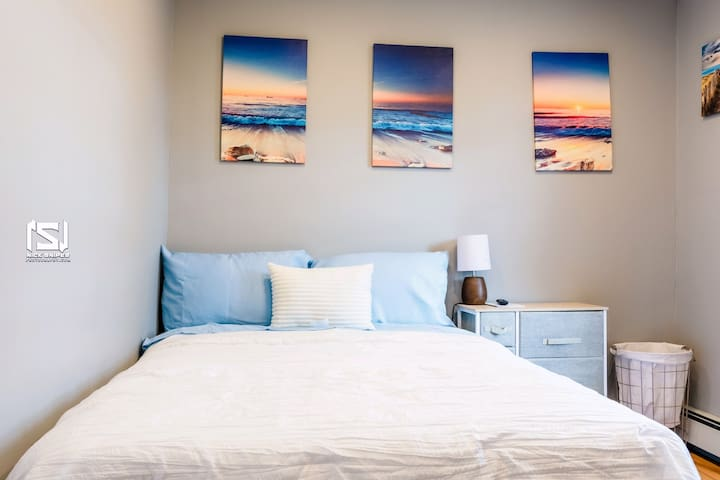 """Bedroom 1  • Central Air Conditioning Ductless • Bed Sheets  • Cotton Linens • Foam Cushing Top On Bed • Premium Bedding  • 32"""" 4K LED Smart TV with Roku & streaming access"""
