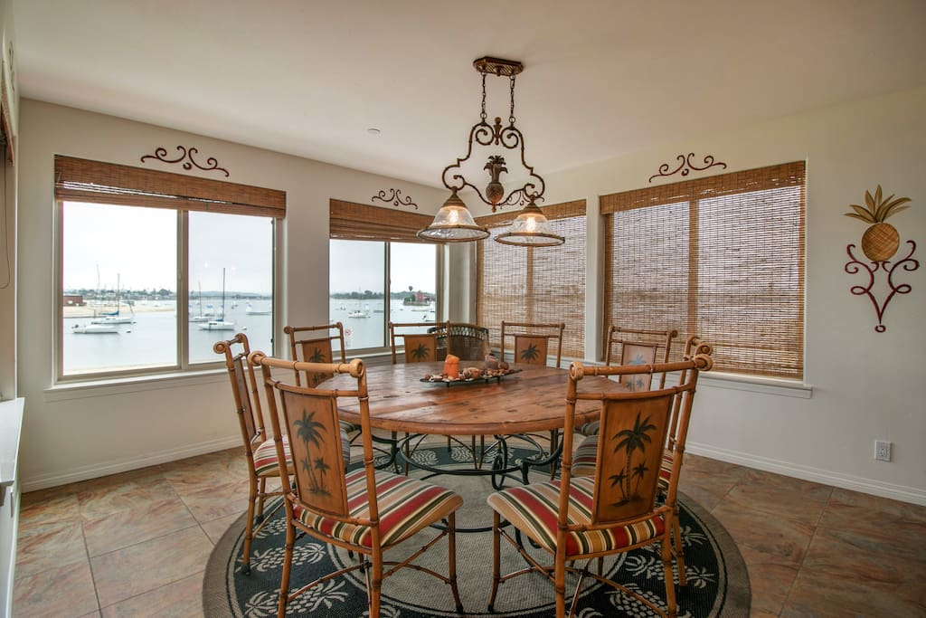 Enjoy meals looking out over the bay with unobstructed views