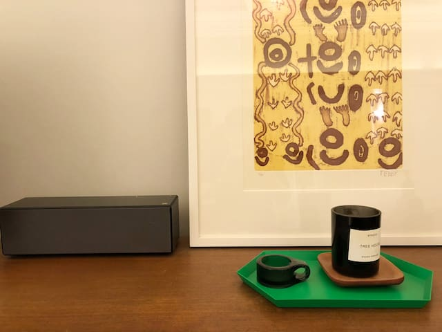 Wireless speaker and curated design pieces