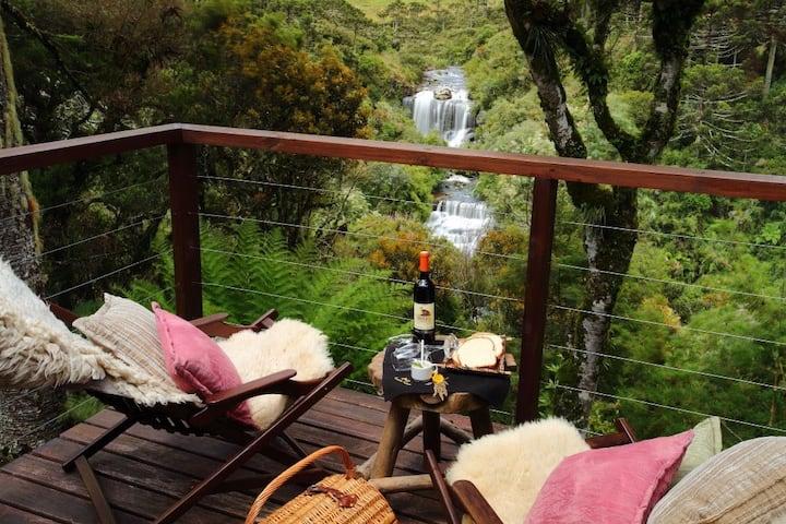 Tenda da Lua: hidro, cozinha, vista pra cachoeiras