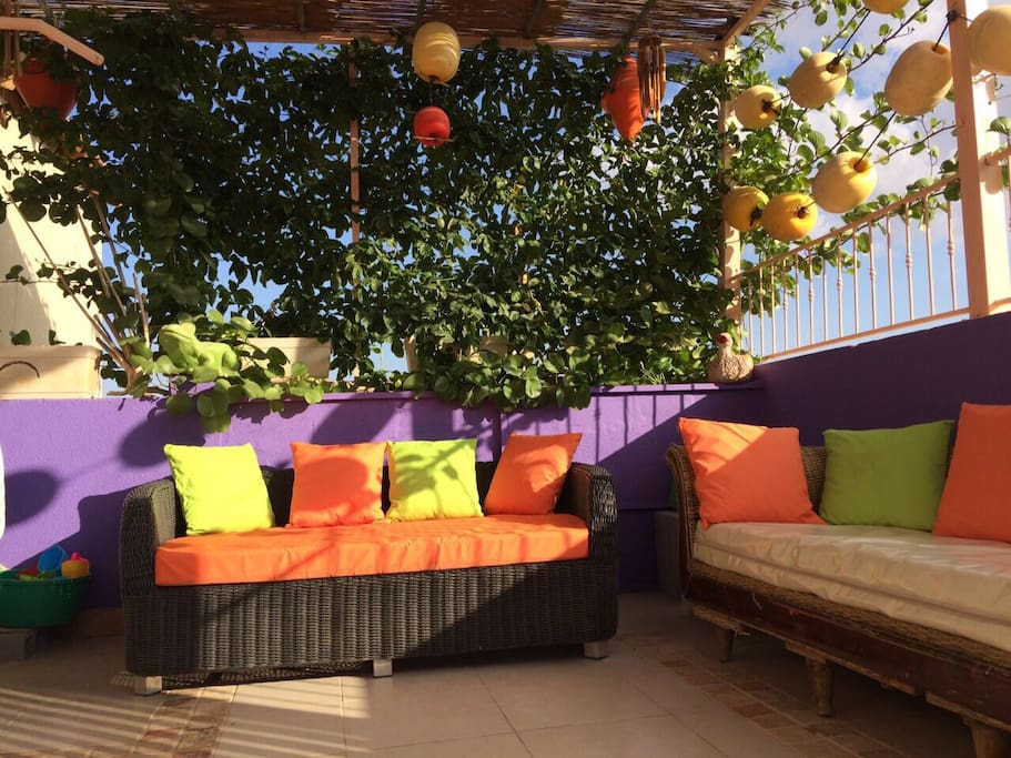 Our roof-balcony where you can spend time outdoors, drinking coffee, tea, wine or chat with friends and enjoying healing air of the Judean Desert around. This is place too for smocking only!