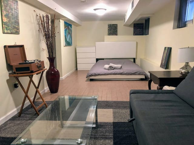 Spacious designed basement studio apartment