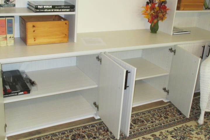 Storage in the entertainment center: games and puzzles will be in here; HDTV above.