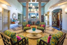 Step in to luxury! The lobby at The Oasis clubhouse is a great place to relax, chat with guests or ask the friendly staff any questions about the clubhouse or surrounding area events.