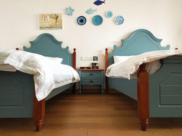 嵊泗本岛天悦湾滨海度假海景公寓『B家』家庭双床房