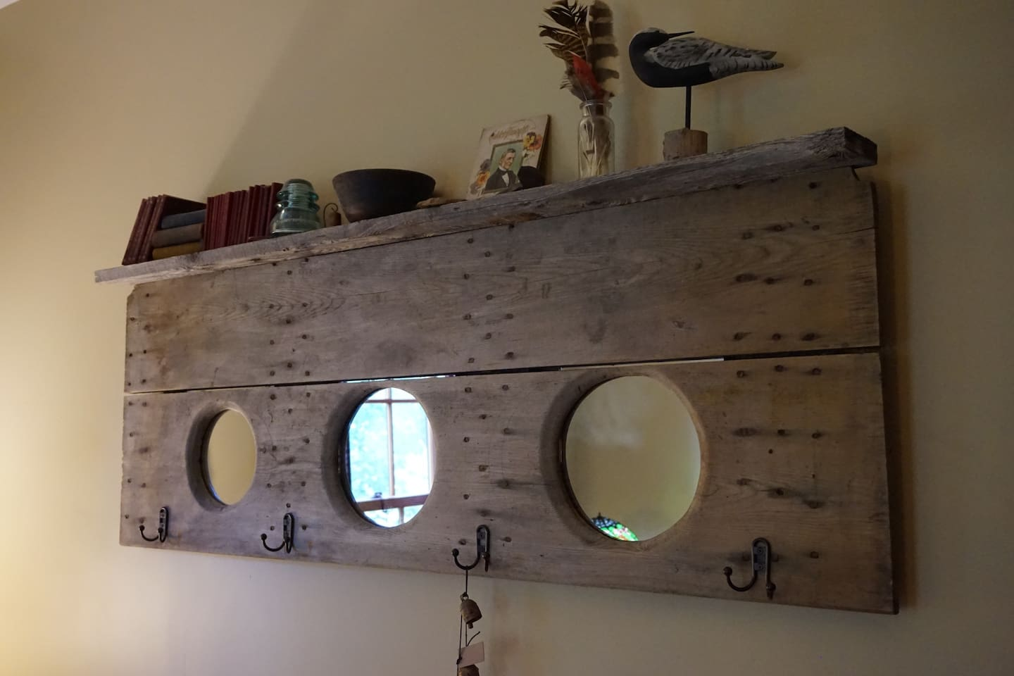 DIY Farmhouse Vintage Shabby Chic. Re-purposed the original outhouse seat. In guest room.