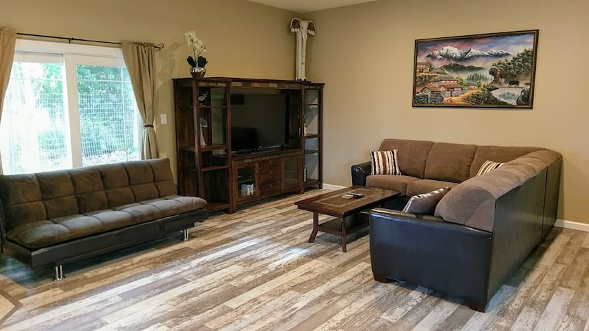This is what you will be welcomed to when you arrive...A large and spacious home...with ceiling fans, recessed lighting, stylish decor, and 10ft ceilings throughout the entire house