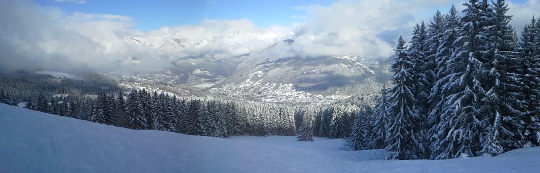 St Gervais sous la neige vu des pistes