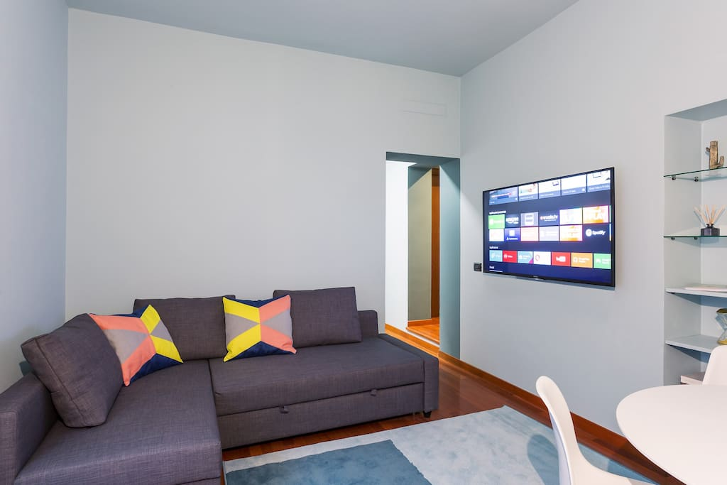 The living room   TV & double sofa bed